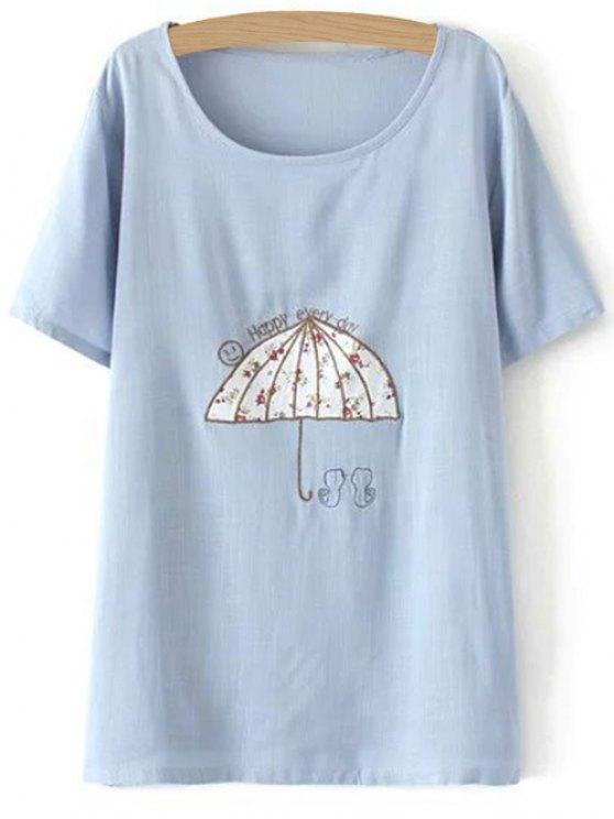 Más el tamaño del paraguas de la camiseta - Azul Claro 2XL