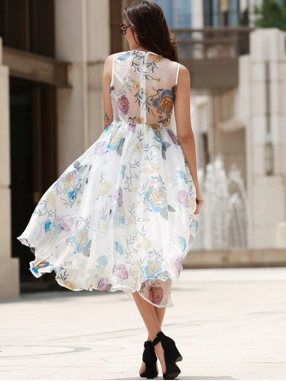 Plunging Neck Organza Prom Dress - OFF-WHITE S Mobile