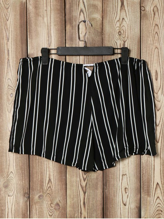 Loose Striped Cut Out High Waist Shorts - BLACK S Mobile