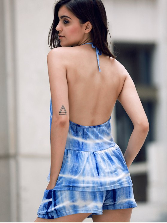 Print Halter Tank Top and Wide Leg Shorts Suit - BLUE L Mobile