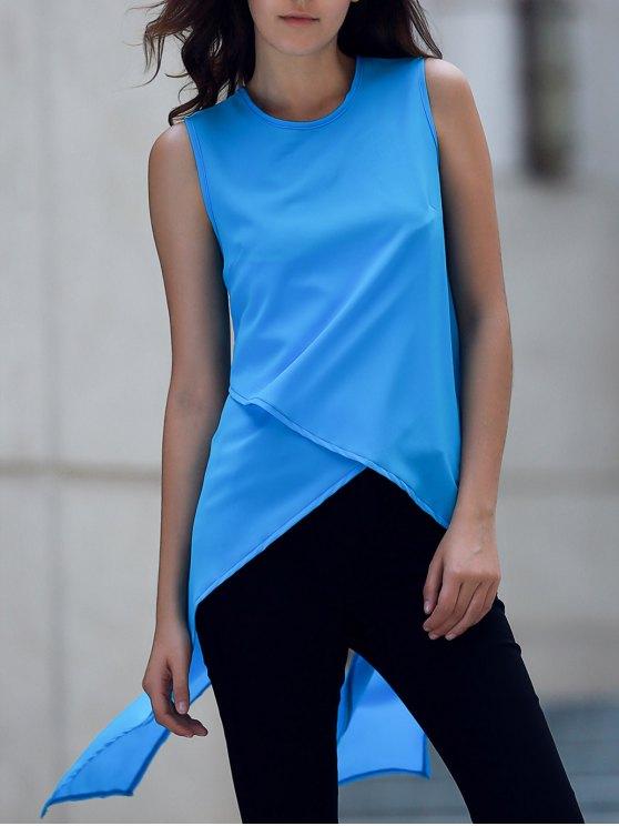 outfit Irregular Hem Chiffon Round Neck Tank Top - BLUE S