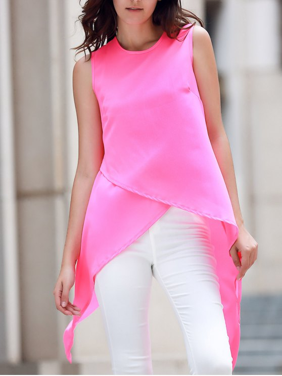 online Irregular Hem Chiffon Round Neck Tank Top - ROSE M