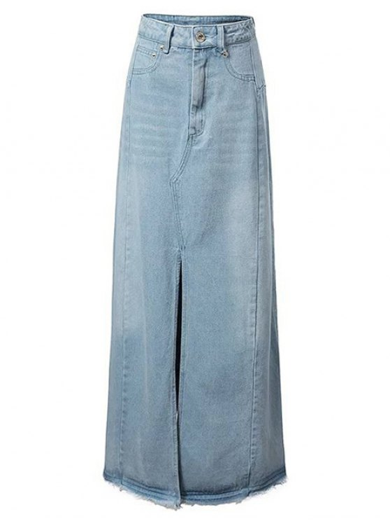 Front Slit Long Denim Skirt LIGHT BLUE: Skirts M | ZAFUL