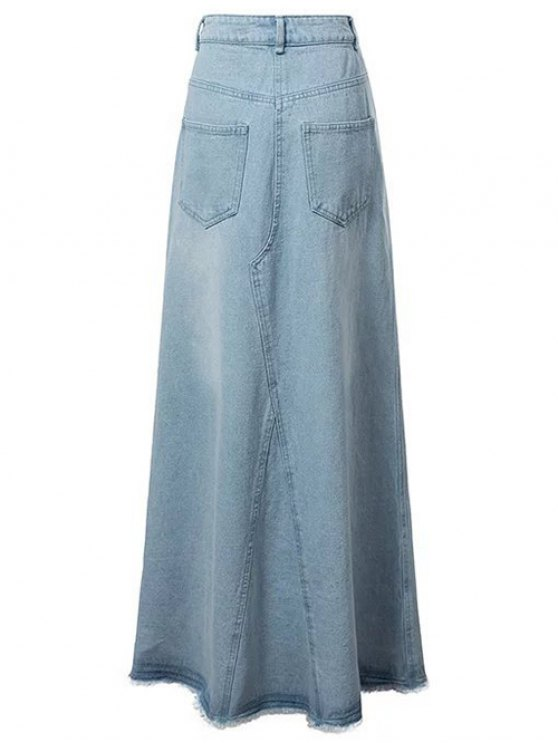 Front Slit Long Denim Skirt - LIGHT BLUE L Mobile
