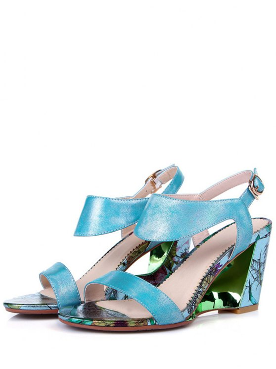 Print Candy Color Wedge Heel Sandals - BLUE 36 Mobile