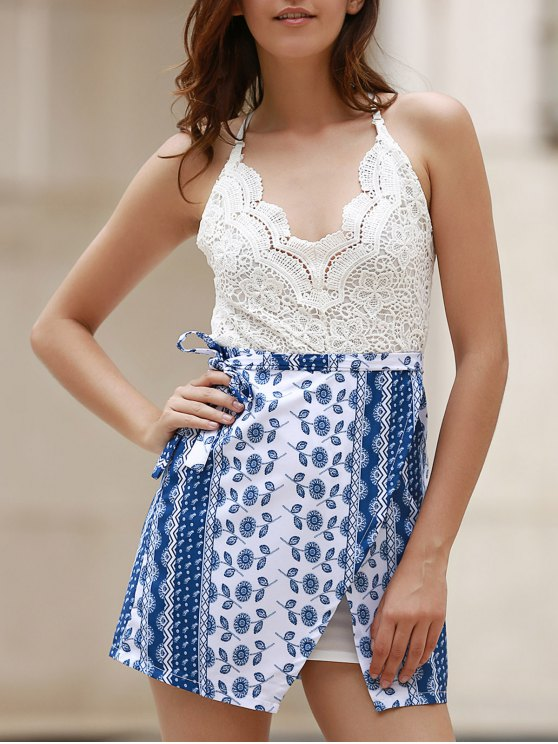 Lace Top Backless Tribal Print Dress - BLUE AND WHITE M Mobile