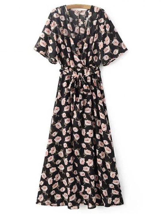 women's Crossover Printed Maxi Chiffon Dress - BLACK S