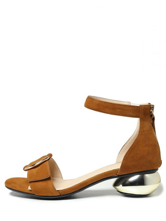 Metal Strange Heel Ankle Strap Sandals - BROWN 38 Mobile