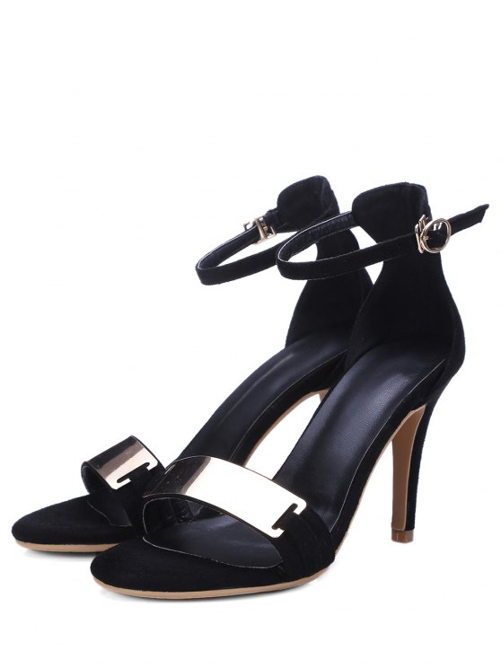 Stiletto Heel Ankle Strap Metal Sandals - BLACK 34 Mobile