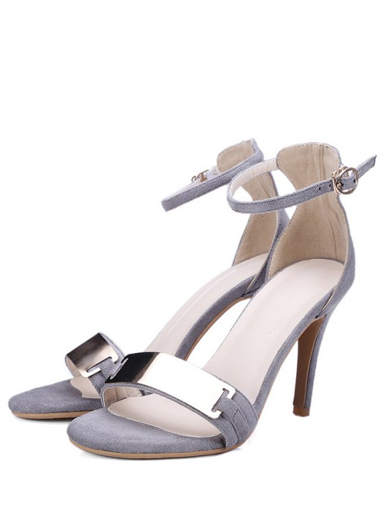 Stiletto Heel Ankle Strap Metal Sandals - GRAY 34 Mobile