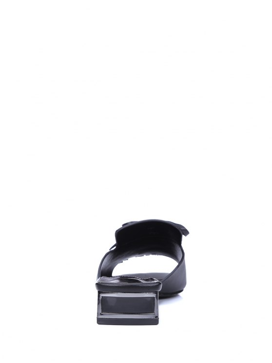 Fringe Solid Color Low Heel Slippers - BLACK 39 Mobile