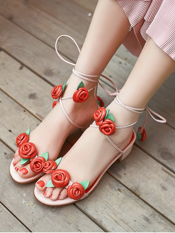 Rose Lace-Up Chunky Heel Sandals - PINK 38 Mobile