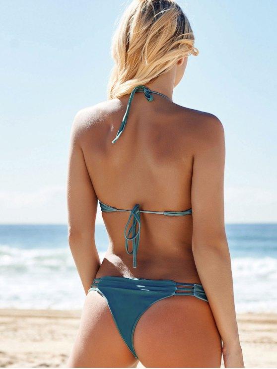 Halter String Bikini Set With Ladder Detail - GREEN XL Mobile