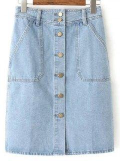 Button Closure Denim Midi Skirt - Light Blue Xl