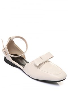 Square Toe Bowknot Ankle Strap Flat Shoes - Off-white 39