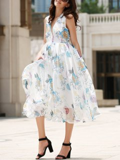 Plunging Neck Organza Prom Dress - Off-white L