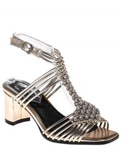 Rhinestone Weaving Chunky Heel Sandals - Golden 39