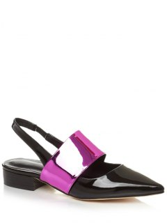 Pointed Toe Color Block Slingback Flat Shoes - Rose 34
