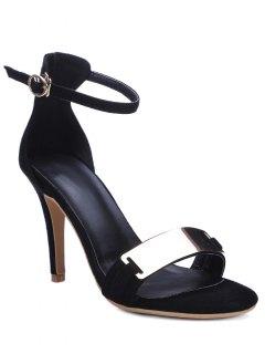 Stiletto Heel Ankle Strap Metal Sandals - Black 34
