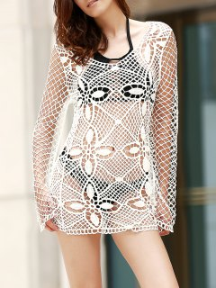 Hollow Out Scoop Neck Long Sleeve Bodycon Dress - White