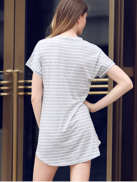 new V-Neck Striped Tee Dress - GRAY M Mobile