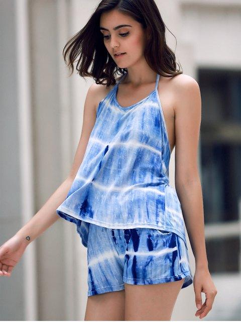 fancy Print Halter Tank Top and Wide Leg Shorts Suit - BLUE M Mobile