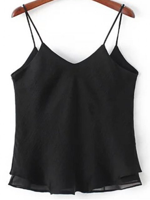 chic Double-Layered Camisole Top - BLACK S Mobile