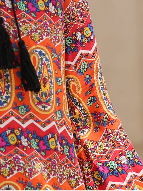 fancy Ethnic Print V Neck 3/4 Sleeves Dress - COLORMIX S Mobile