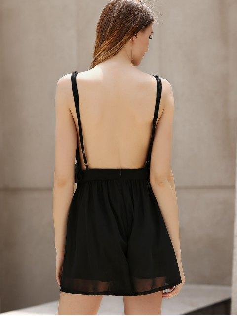 women Backless Cross-Over Chiffon Romper - BLACK M Mobile