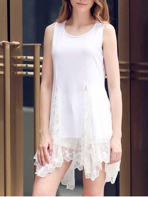 women Lace Hem Swingy Tank Dress - WHITE L Mobile