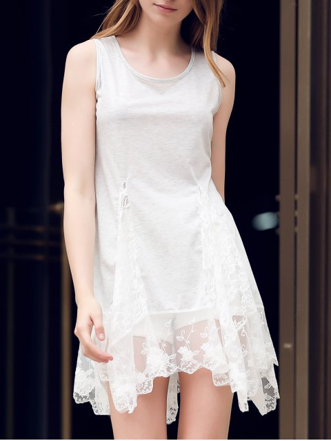 unique Lace Hem Swingy Tank Dress - LIGHT GRAY M Mobile