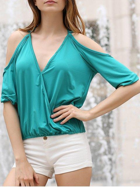Cold Shoulder Plongeant Neck Crossed T-shirt - Vert M Mobile