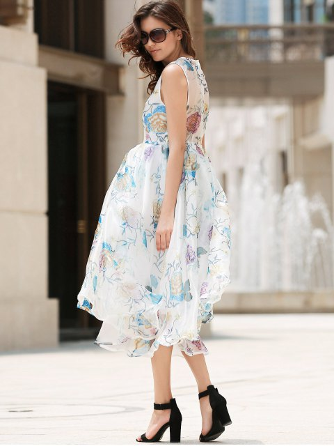 women's Plunging Neck Organza Prom Dress - OFF-WHITE S Mobile