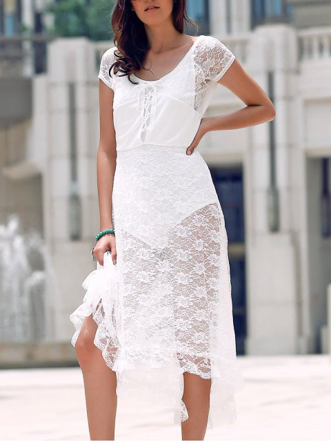 trendy Scoop Neck Fit and Flare Lace Dress - WHITE XL Mobile