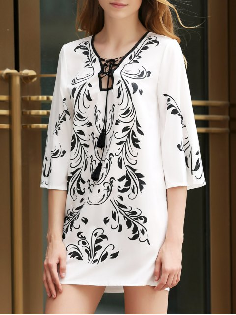 trendy Floral Print Plunging Neck 3/4 Sleeves Dress - WHITE ONE SIZE(FIT SIZE XS TO M) Mobile