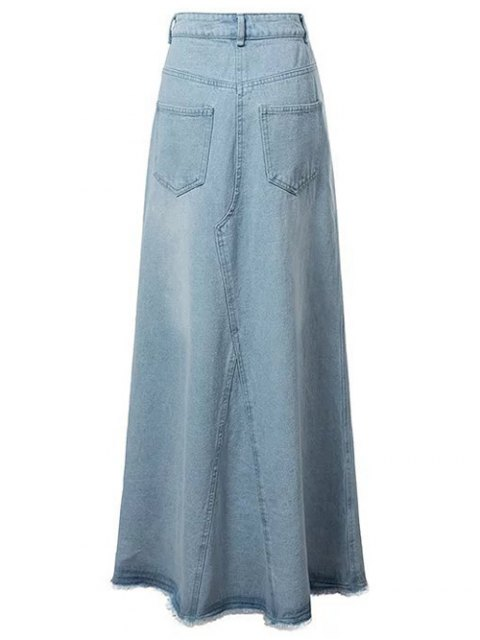 ladies Front Slit Long Denim Skirt - LIGHT BLUE L Mobile
