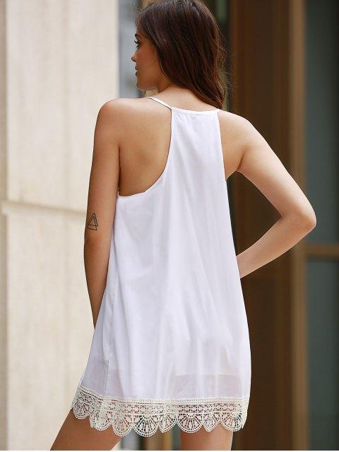 online Lacing Spliced Halter Solid Color Dress - WHITE XL Mobile