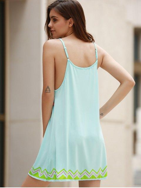 outfits Ethnic Print Cami Fringe Dress - LIGHT BLUE S Mobile