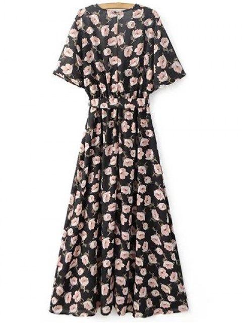 women's Crossover Printed Maxi Chiffon Dress - BLACK S Mobile