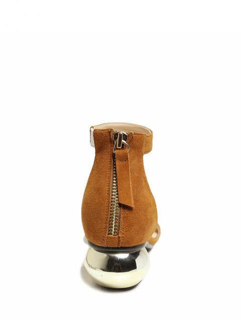 outfit Metal Strange Heel Ankle Strap Sandals - BROWN 38 Mobile