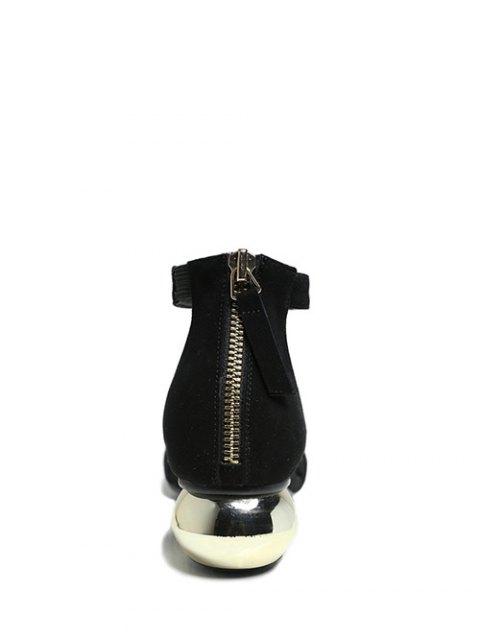 best Metal Strange Heel Ankle Strap Sandals - BLACK 39 Mobile