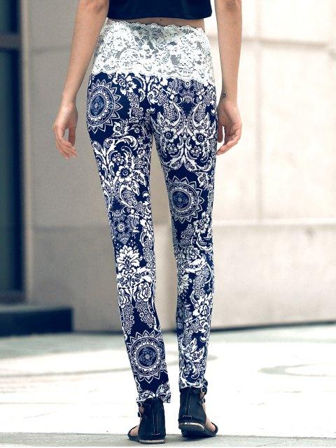 unique Ethnic Print Lace Spliced Skinny Pants - BLACK XL Mobile