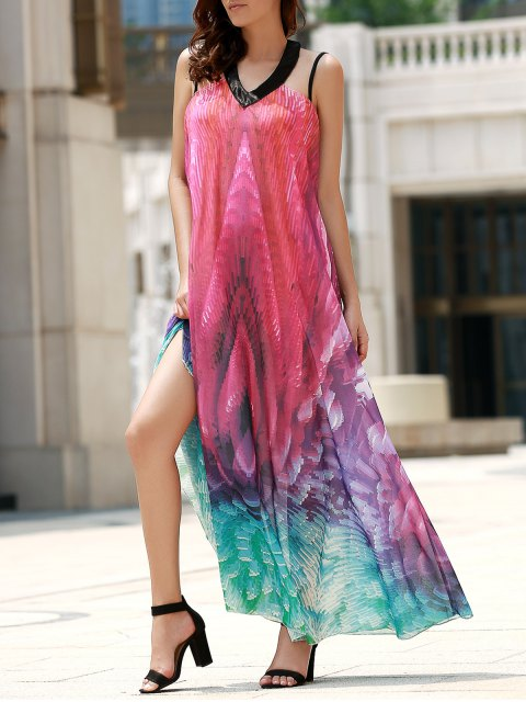 affordable Flowy Maxi Chiffon Holiday Beach Dress - COLORMIX M Mobile