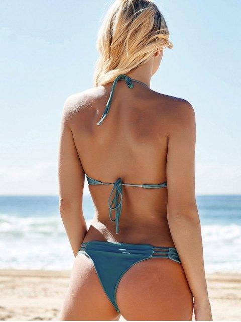 lady Halter String Bikini Set With Ladder Detail - GREEN XL Mobile