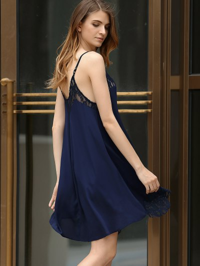Black Lace Splicing Cami Dress - PURPLISH BLUE M Mobile