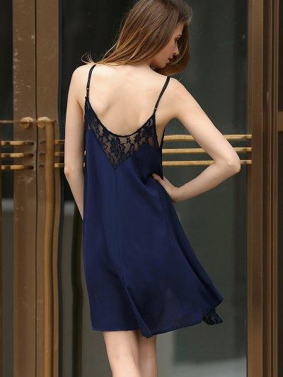 Black Lace Splicing Cami Dress - PURPLISH BLUE L Mobile