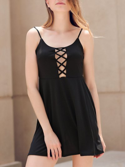 Fit And Flare Lace-Up Dress - Black