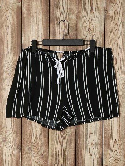 Rayado Recortable Suelta Pantalones Cortos De Cintura Alta - Negro