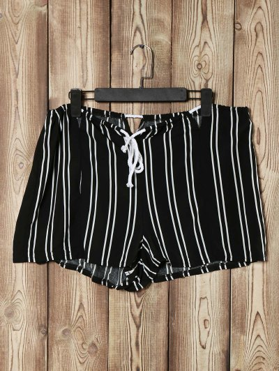 Loose Striped Cut Out High Waist Shorts - Black