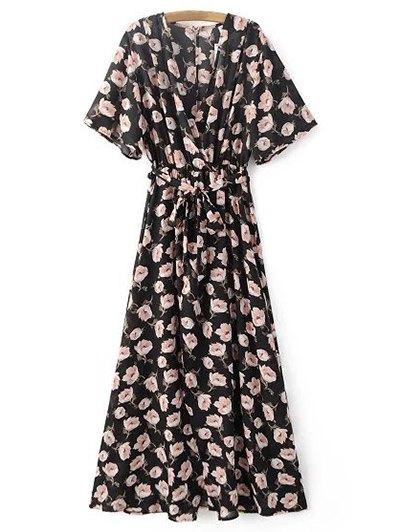 Crossover Printed Maxi Chiffon Dress - BLACK M Mobile